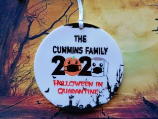 Personalised Halloween in Quarantine Hanging Plaque